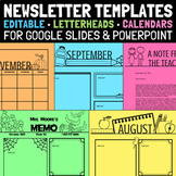 Monthly Newsletter Templates Editable Plus Letterheads and Calendars