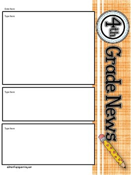 Newsletter Templates- Fourth grade