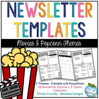 Newsletter Templates - Movies/Cinema & Popcorn Themes
