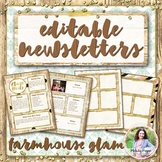 Newsletter Templates {Rustic Farmhouse Glam Editable Monthly Templates}