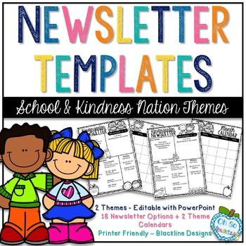 Newsletter Templates - School Basics & Kindness Kids Themes