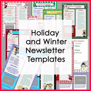 Winter And Holiday Newsletter Templates  Party  Set Of  Templates