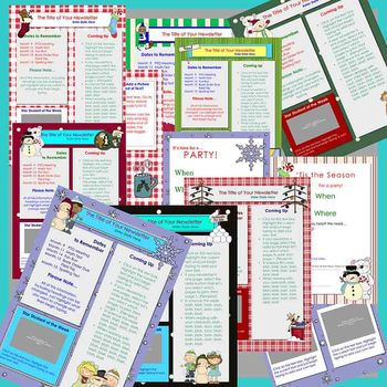 Winter and Holiday Newsletter Templates / Party - Set of 11 Templates