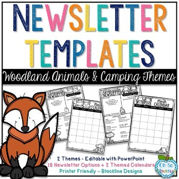 Newsletter Templates - Woodland Animals & Camping Themes