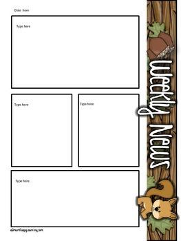 Newsletter Templates- Woodland Animals Themed