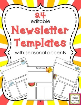 Newsletter Templates (editable)- Seasonal- 24 different templates!