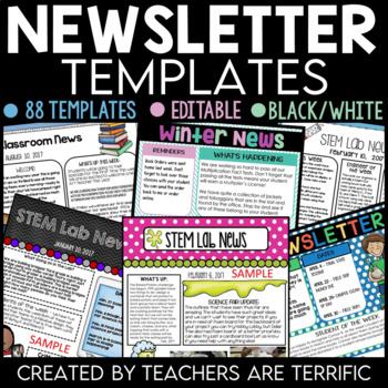 Newsletter Templates With A Science Theme Editable By Teachers Are