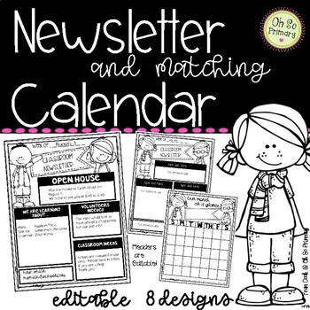 Class Newsletter and Calendar Bundle - Editable!
