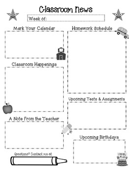 Newsletter and Homework Templates