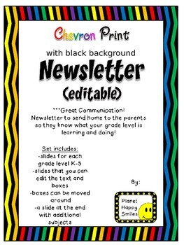Newsletter (editable) ~ Chevron Rainbow Print with black background