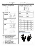 Newsletter/ Sylables/ reading story/ hfw/ Kindergarten/ Bilingual / Letter Uu