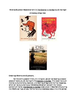 Parental Newsletter for The Catcher in the Rye