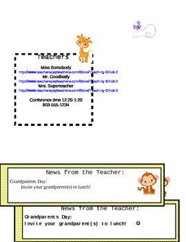 Newsletter with Zoo and/or Jungle Animals