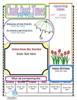 Newsletters 11 Months (Editable - WORD)