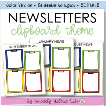 NEWSLETTERS  Clipboard Themed {September - August // Color// Editable}