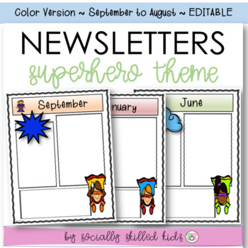 Newsletters: Superhero Themed {September - August // Color // Editable}