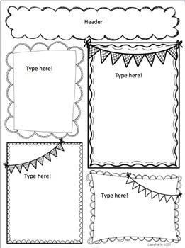 Newsletter Template Editable By Laura Martin Teachers Pay Teachers - Black and white newsletter templates