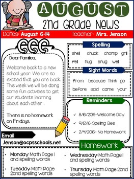 Newsletters- Back to School Editable