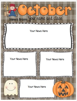 Newsletters EDITABLE Monthly Color & BW Versions