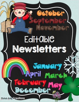 Newsletters {EDITABLE} Monthly Color & BW Versions