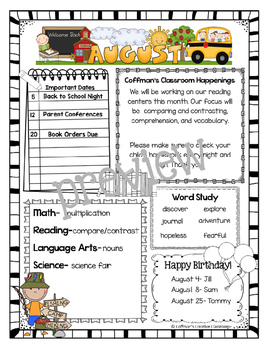 Newsletters Through the Year~ Camping Theme