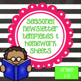 Newsletters and Weekly Homework Sheet - 3-5 - Seasonal - Editable