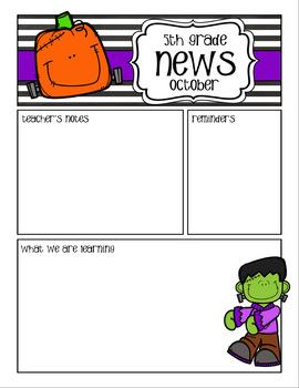 Newsletters and Weekly Homework Sheet - 3-5 - Seasonal - Editable