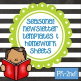 Newsletters and Weekly Homework Sheet - K-2 - Seasonal - Editable