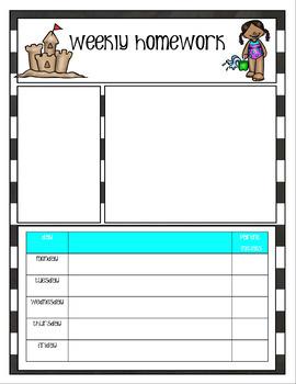 Newsletters and Weekly Homework Sheet - K-2 - Seasonal - Editable
