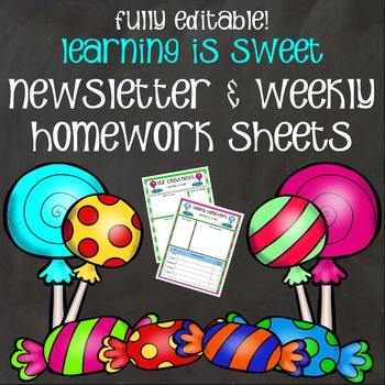 Newsletters and Weekly Homework Sheets - Learning is Sweet - Editable