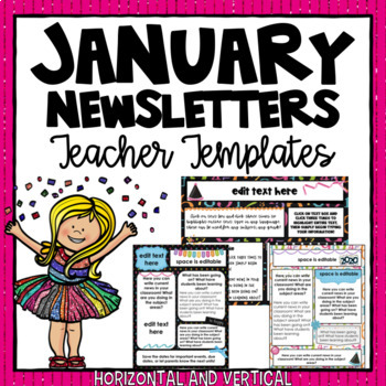 january and new year newsletter templates 2018 editable
