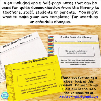 Newsletters for the School Library EDITABLE