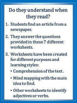 Reading Writing Or Speaking With Newspaper Activities Tpt