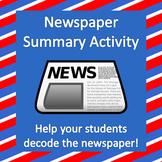Newspaper Article Summary Activity