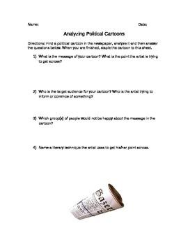 Newspaper Activity - Political Cartoon Activity