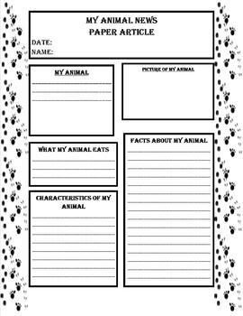 Newspaper Animal Book Report