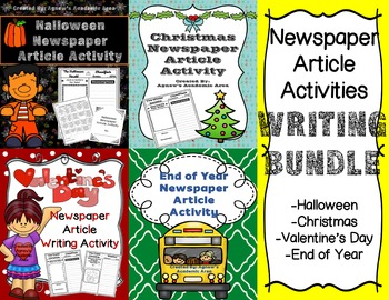 Seasonal Newspaper Article Activities Writing Bundle: GREA