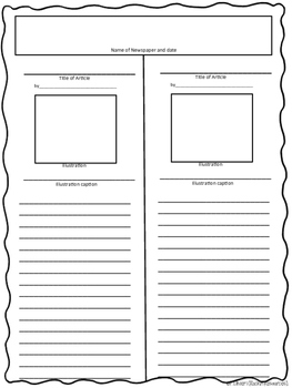newspaper article templates free by rockin resources tpt