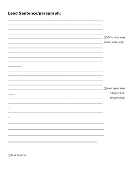 Newspaper Article Outline Sheet