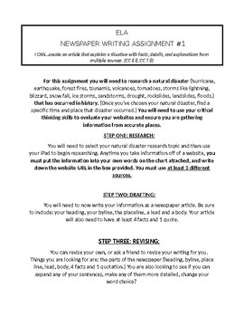 Newspaper Article Writing Assignment