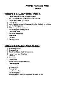 Newspaper Article Writing Guide & Criteria Sheet