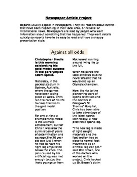 Newspaper Article Writing Project