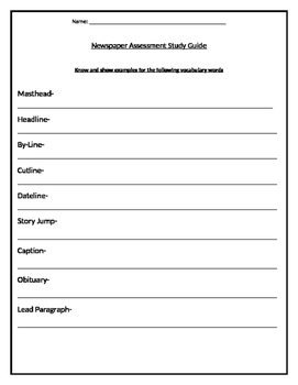 Newspaper Assessment Study Guide