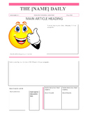Newspaper Assignment (template, ppt, rubrics) - Primary to