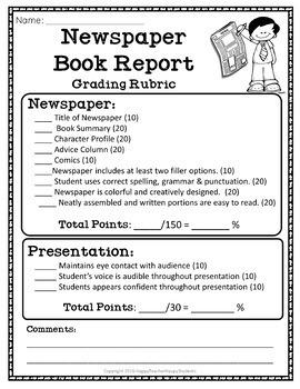 Newspaper Book Report: Fiction & Non-Fiction Book Report Newspaper