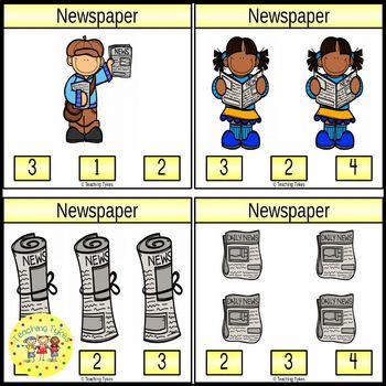 Newspaper Count and Clip Task Cards