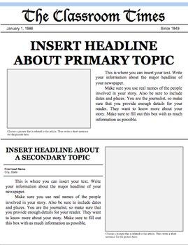 Front Page Newspaper Template from ecdn.teacherspayteachers.com