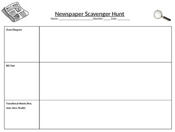 Newspaper Grammar and Nonfiction Scavenger Hunt