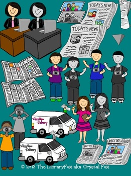 Newspaper Kids Clip Art Set for Personal or Commercial Use