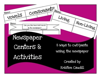 Newspaper Magazine Center Activities for Cut Paste